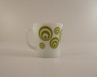 Fire King Green Circle Swirl Milk Glass Coffee Mug, Elusive Circle Swirl Fire King Mug