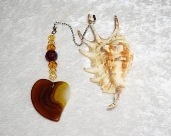 Heart Agate, Stone Fan Pull,  Agate Ceiling Fan Pull,  Handcrafted Fan Chain Pull,  Brown Home Decor,  Protection Gemstone