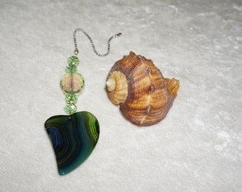 """Large 2"""", Dark Green and Blue,  Heart Agate Fan Pull,  Light Pull,  Ceiling Fan Accessories,  Ready To Ship,  One of a kind"""