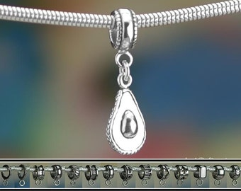 Sterling Silver Avocado Charm or European Style Charm Bracelet .925