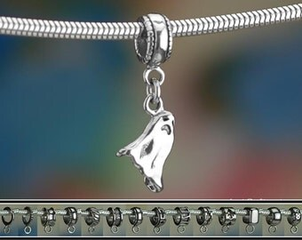 Sterling Silver Ghost Charm or European Style Charm Bracelet Solid 925