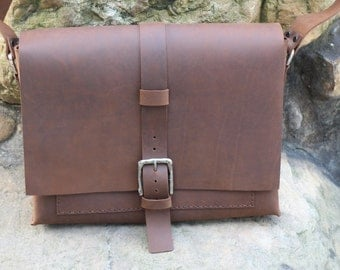handmade, leather messenger bag, satchel  bag, Crazy Horse Leather, waxed thread , leather bag ,gift.