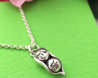 Silver Peapod pendant with initials on the peas