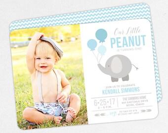 Photo Kids Birthday Invitation, Kids Invitation, Elephant First Birthday, Boy Invitation, Printable Invite, Invite PDF, Blue, Little Peanut