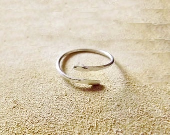 Rustic Handcrafted Ring | Skinny Adjustable Stacking Ring / Sterling Silver Hand Forged Ring