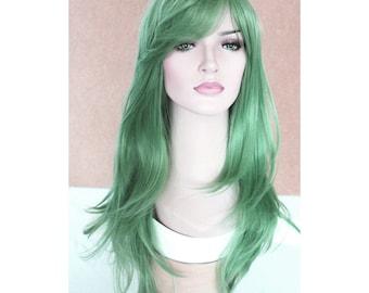 Long wavy jade green wig -high quality wig, ready to ship