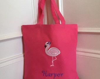 Personalized Flamingo Tote Bag