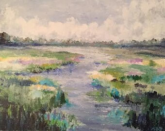 Charleston Marsh, Large Original Painting, 22x28