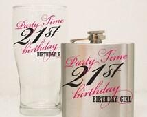 ON SALE - 21st Birthday Flask Gift Set, 21st Birthday Glass, Girls birthday Gift, Custom Flask, 6 oz hip flask, Milestone Birthday Gift, Hum