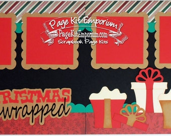 Scrapbook Page Kit Christmas Gifts Unwrapped Boy Girl 2 page Scrapbook Layout Kit 63