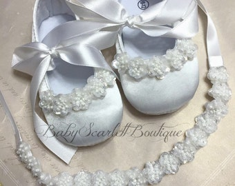 White Baby Girl Shoes,Christening,Wedding Shoes and Headband Set