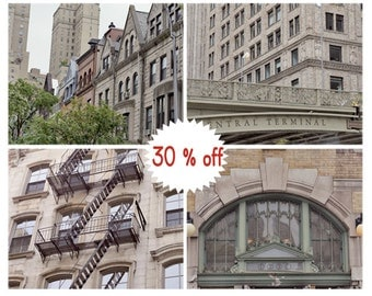New York pictures, Manhattan nyc buildings art set 4 gallery wall prints 8x10, 11x14 nyc wall decor, travel prints subway, grand central