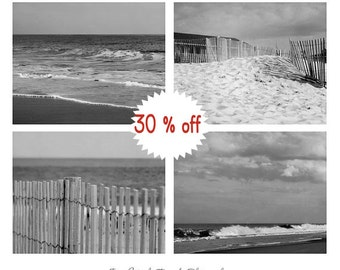 Black & white photography set, beach pictures, 4 11x14, 8x10 coastal photos, grey wall art ocean photography nautical art prints, seashore