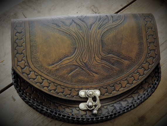 Viking Leather Belt Pouch Yggdrasil - Tree of Life - Celtic - Viking Inspired - Festival / Bushcraft Possibilities Bag