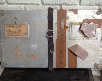 Vintage industrial silver metal shipping box container
