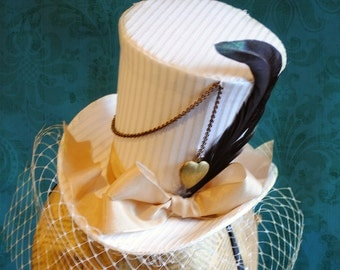 Bridal Mini Top Hat with Vintage Locket,Victorian Tea-party Mini Top Hat,Steampunk Mini Top Hat with Veil- Ready to Ship