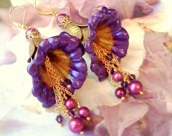 Lucite Earrings, Flower Earrings, Victorian Earrings, HandPainted Earrings, Swarovski Pearls, Long Dangle Earrings, Purple Earrings, For Her