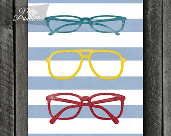 Eyeglasses Print - INSTANT DOWNLOAD Eyeglasses Art - Optometry Decor - Ophthalmologist Wall Art - Optometrist Printable Poster - Eyes Poster