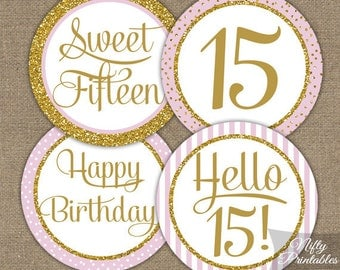 Sweet 15 Birthday Cupcake Toppers - Sweet Fifteen Pink & Gold Glitter Printable - DIY 15th Birthday Party Toppers - Quinceañera Decor PGL