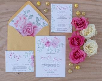 Pink Peony Watercolor Wedding Invitation