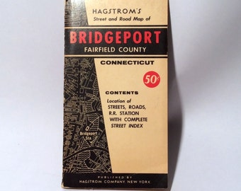 Vintage Hagstrom's 1940s Bridgeport/Fairfield County, CT Foldout Map