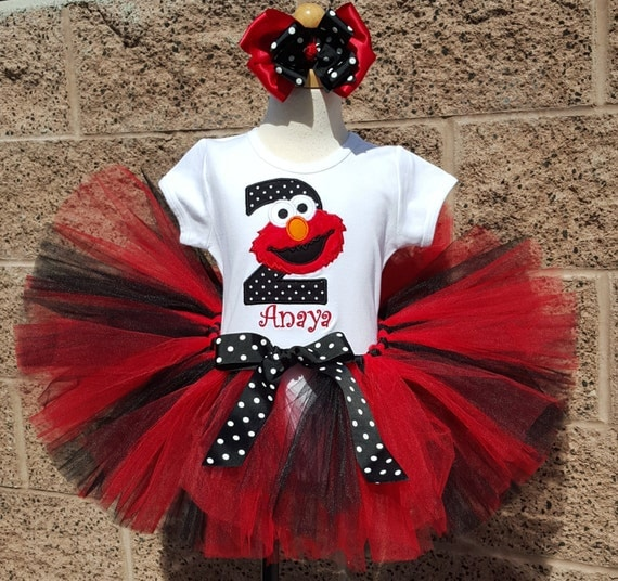 elmo red black and white number tutu personalized birthday