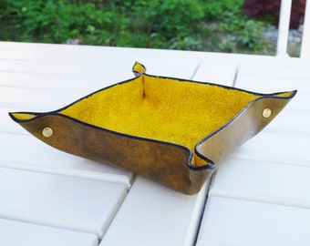Leather Bowl Practical Bowl Fruit Bowl Handmade Natural Leather Clever Design Yellow With Antique Finish Metal Rivets
