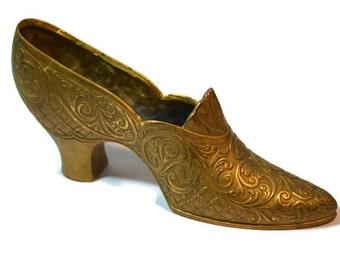 Victorian Brass Shoe, Cottage Chic, Shelf Decor, Cinderella Slipper