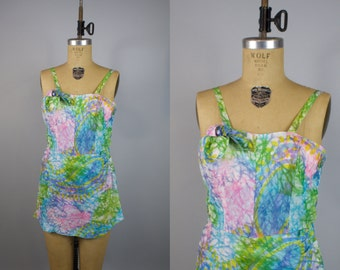 1960s Bathing Suit / 60s Skirted Swimsuit / Pastel Swimsuit