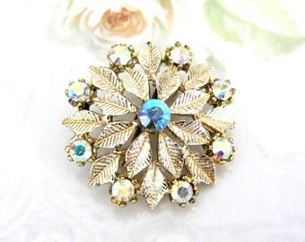 Vintage Gold Tone Snowflake Leaves AB Rhinestone Brooch
