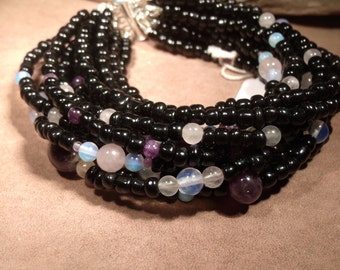 Black glass beads Moonstone and pink stripped Agate bracelet