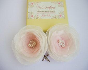 2 pcs Pale pink Flowers Hair Bobby pins Bridal Hair Pins, Bridesmaid Hairpins, Wedding hair pins,Blush pink flower , Ivory pale pink flowers