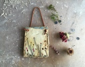clay canvas art -real pressed wildflowers - clay wall hanging - botany gift - real deer skin leather - rustic bohemian - home decor