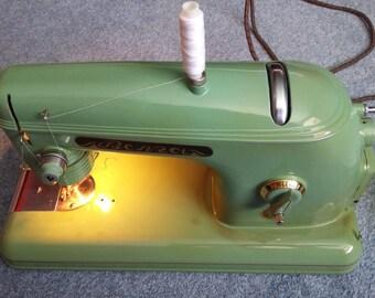 "Vintage Portable  electric Sewing Machine ""Volga"" (""Волга"") Case USSR 1958"