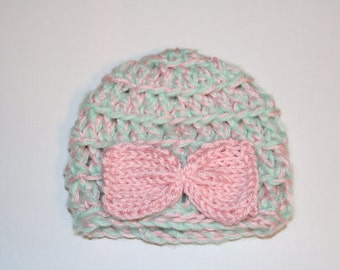 Mint and Pink Baby Beanie With Pink Bow