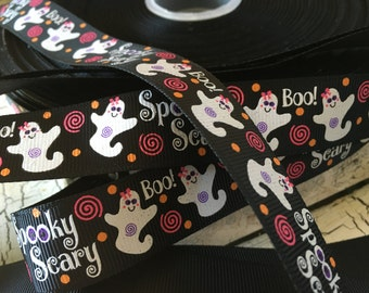 "3 yards 7/8"" Spooky Scary Ghost Glitter Halloween grosgrain ribbon"