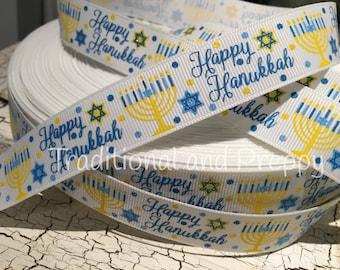 "3 YARDS 7/8"" HANUKKAH White Menorah Star of David Glitter Grosgrain Ribbon"