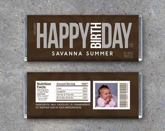 HAPPY BIRTHDAY Personalized Candy Bar Wrappers – Printable Hershey Wrappers with PHOTO, Name & personalized text – Use as a gift or gift tag