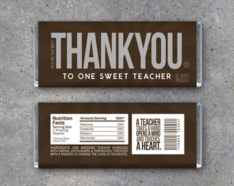 THANK YOU Teacher Appreciation Candy Bar Wrappers – Printable Instant Download – Sweet End of the School Year Teacher Appreciation Gift