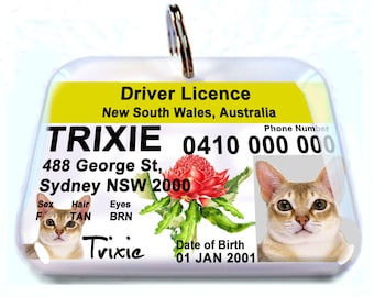 Australia driver license NSW New South Wales Personalized Pet ID Tags