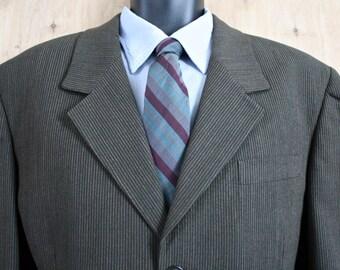 Richard Edwards Suit/ Men's Vintage 2 Piece Suit/ c. 1995/ Brown Pinstripe Suit/ Three Button Suit/ 1990s menswear