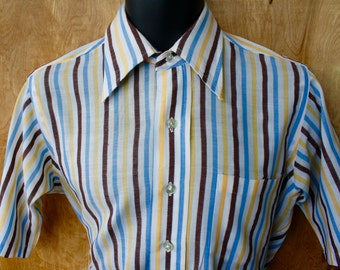 Mens B. Forman Vintage Short Sleeve Striped Cotton Oxford Shirt