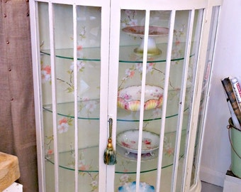 Shabby Vintage 1930s Solid Mahogany Glass Fronted Painted Petal China Cabinet with Key