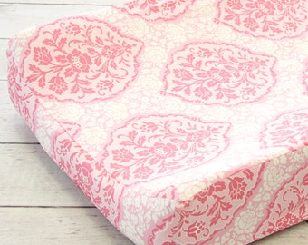 Delaney's Pink and Gray Damask Changing Pad Cover