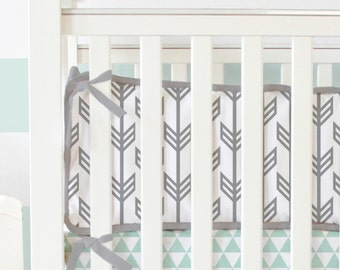Gray and White Arrow Crib Bumpers | Tribal Baby Bumpers
