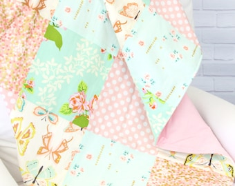 15% OFF SALE - Sarah's Pink and Aqua Baby Quilt