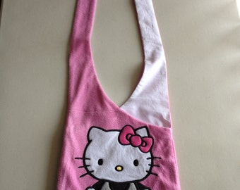 Handmade Upcycled Pink Kitty Hobo Shoulder Purse