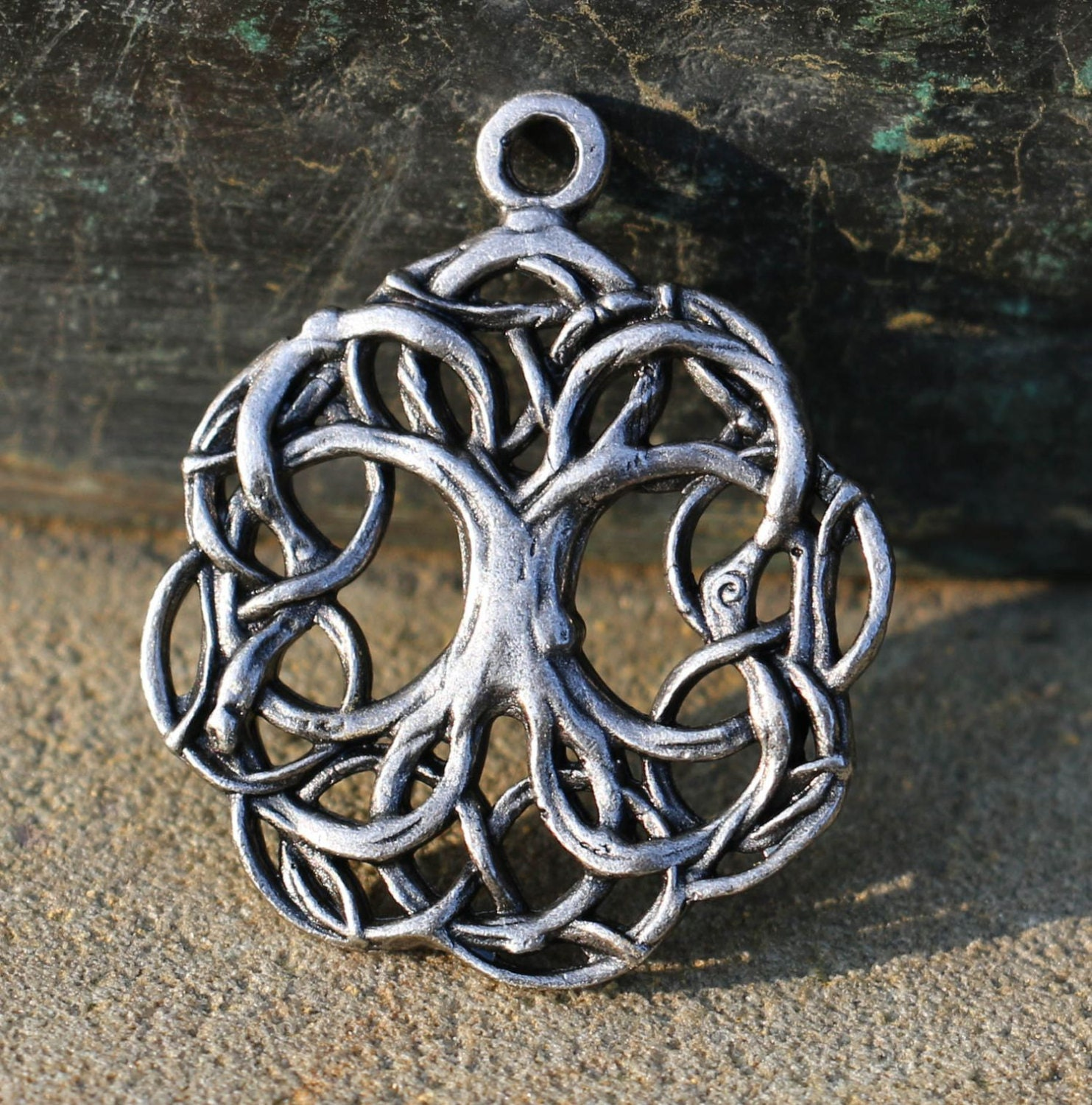 Celtic tree of life pewter pendant tin necklace charm pagan for What is the meaning of the tree of life jewelry