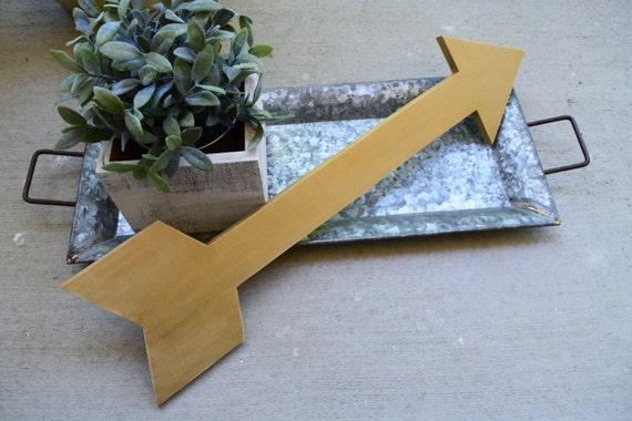 Large Wooden Distressed Gold Metallic Arrow