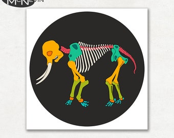 ELEPHANT SKELETON, Modern Pop Art, Photographic Animal Print
